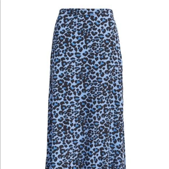 Banana Republic Blue cheetah print maxi skirt NWT
